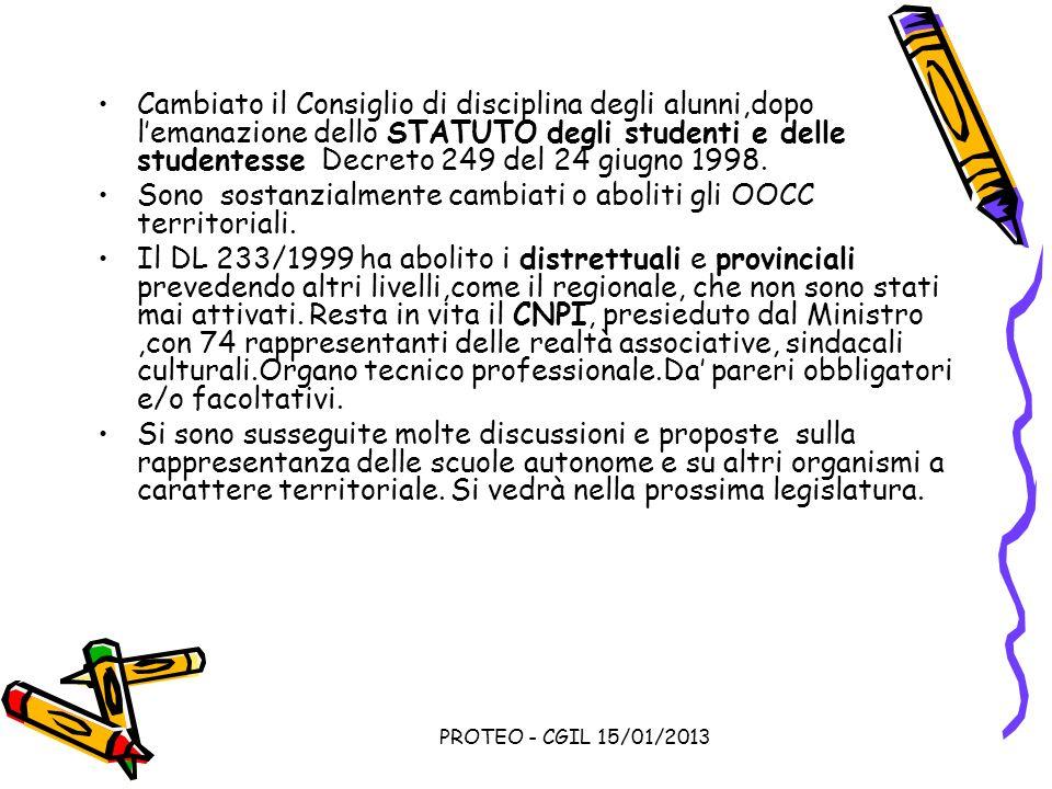 PROTEO - CGIL 15/01/2013 Cambiato il Consiglio di disciplina degli alunni,dopo lemanazione dello STATUTO degli studenti e delle studentesse Decreto 24
