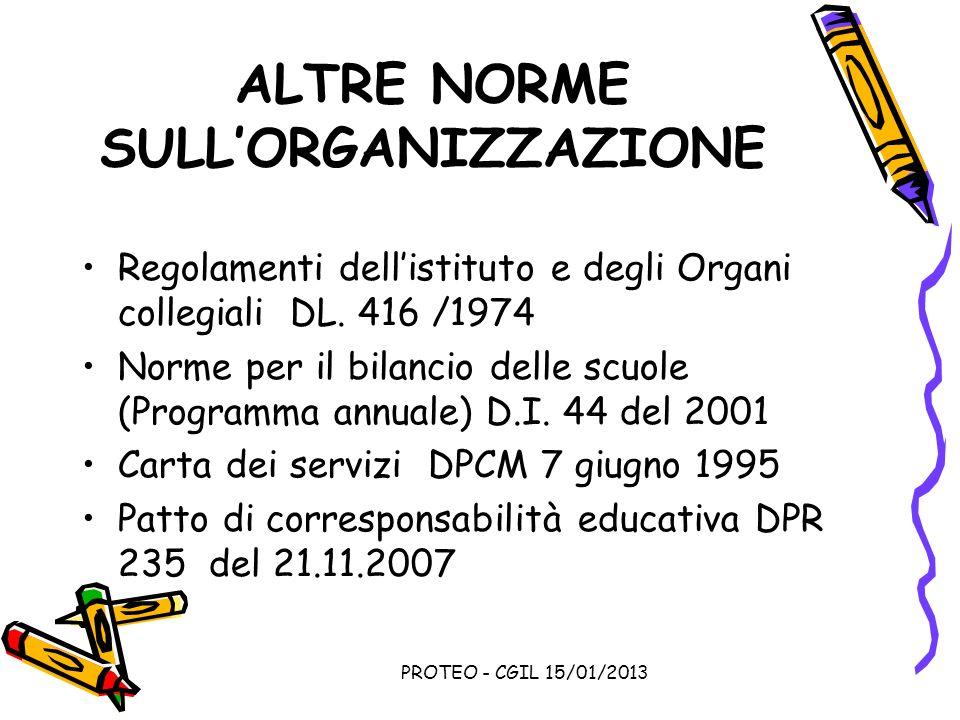 PROTEO - CGIL 15/01/2013 ALTRE NORME SULLORGANIZZAZIONE Regolamenti dellistituto e degli Organi collegiali DL. 416 /1974 Norme per il bilancio delle s