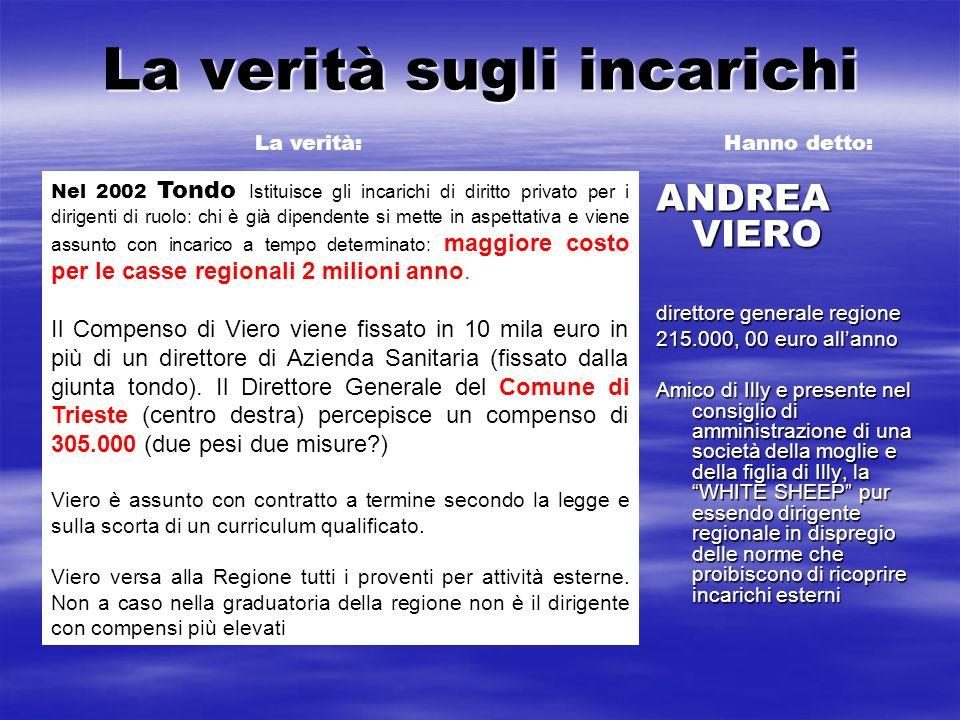 La verità sugli incarichi ANDREA VIERO direttore generale regione 215.000, 00 euro allanno Amico di Illy e presente nel consiglio di amministrazione d