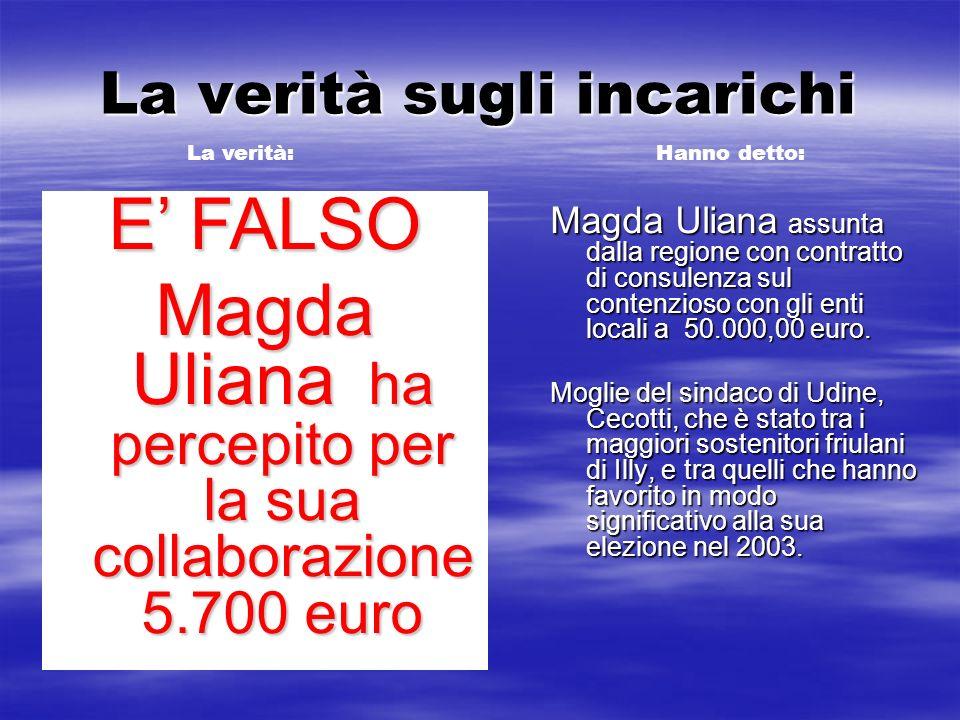 La verità sugli incarichi Magda Uliana assunta dalla regione con contratto di consulenza sul contenzioso con gli enti locali a 50.000,00 euro. Moglie