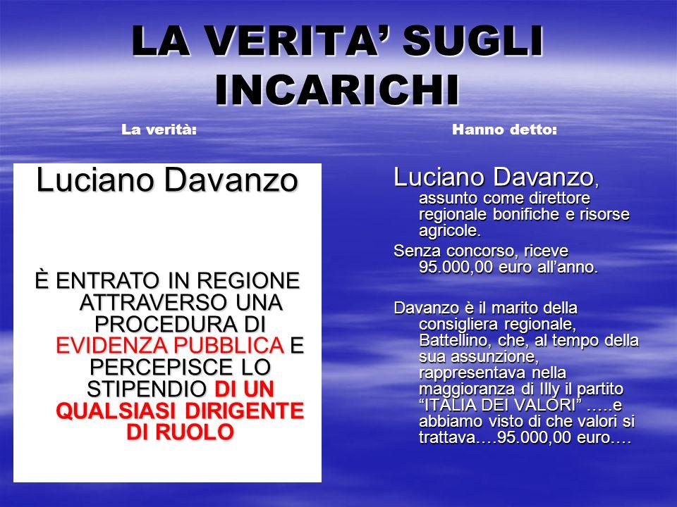 LA VERITA SUGLI INCARICHI Luciano Davanzo, assunto come direttore regionale bonifiche e risorse agricole. Senza concorso, riceve 95.000,00 euro allann