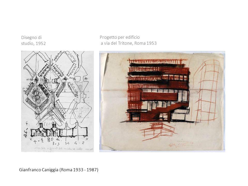Gianfranco Caniggia (Roma 1933 - 1987) Disegno di studio, 1952 Progetto per edificio a via del Tritone, Roma 1953