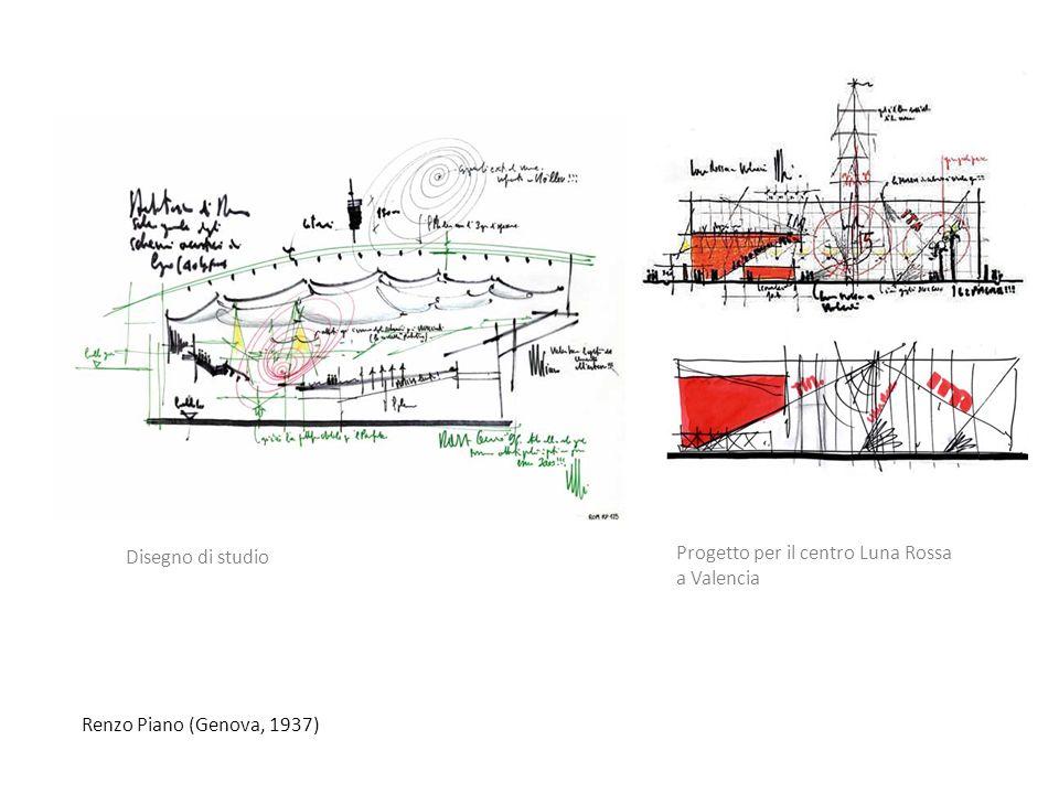 Renzo Piano (Genova, 1937) Progetto per il centro Luna Rossa a Valencia Disegno di studio