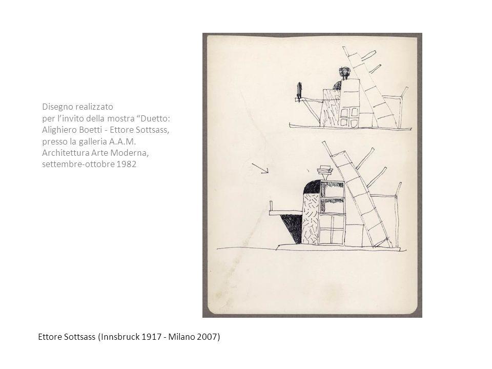 Ettore Sottsass (Innsbruck 1917 - Milano 2007) Disegno realizzato per linvito della mostra Duetto: Alighiero Boetti - Ettore Sottsass, presso la galle