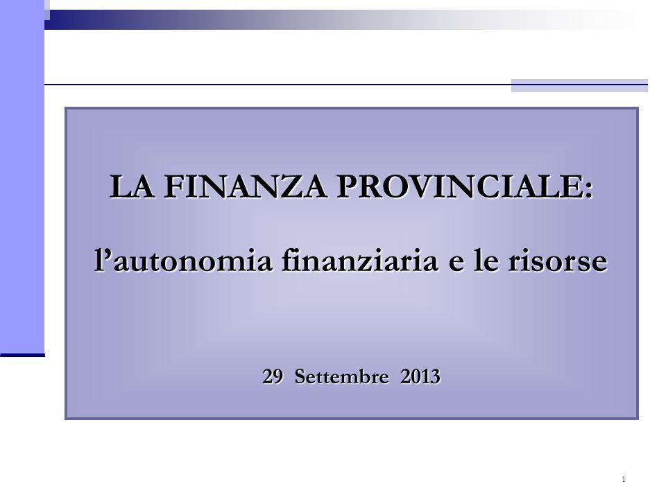 1 LA FINANZA PROVINCIALE: lautonomia finanziaria e le risorse 29 Settembre 2013