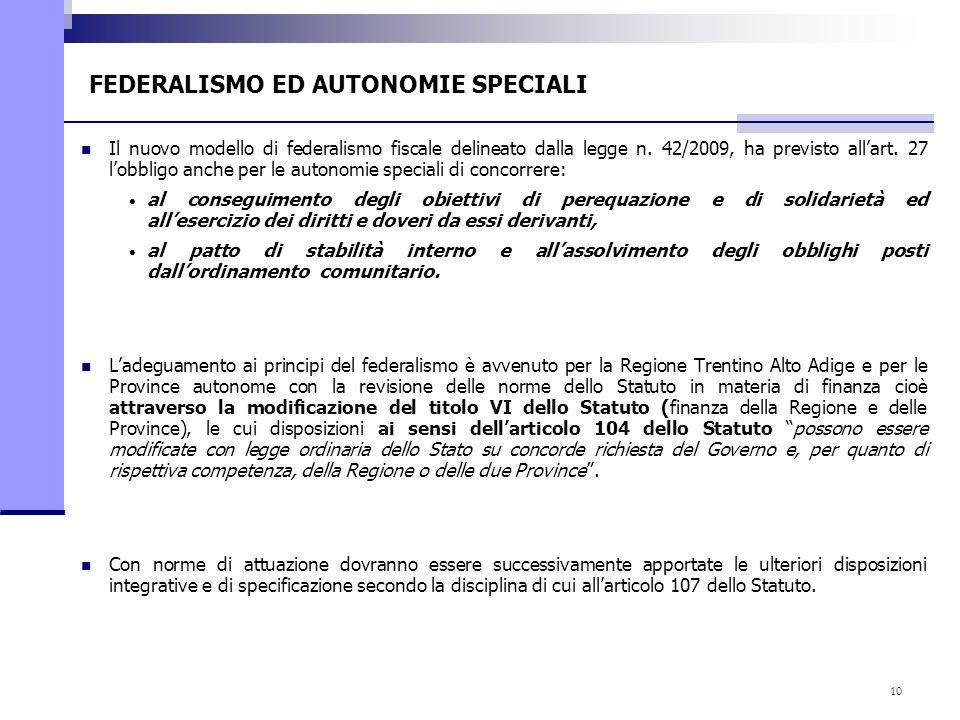 10 FEDERALISMO ED AUTONOMIE SPECIALI Il nuovo modello di federalismo fiscale delineato dalla legge n. 42/2009, ha previsto allart. 27 lobbligo anche p