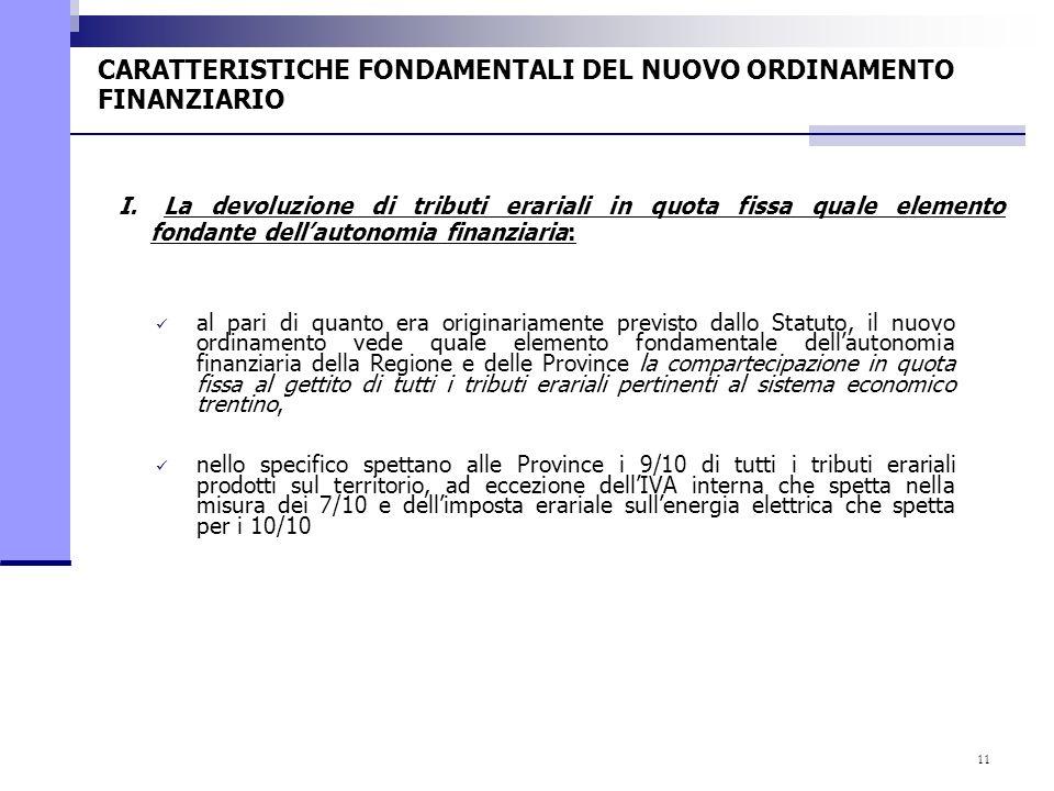 11 CARATTERISTICHE FONDAMENTALI DEL NUOVO ORDINAMENTO FINANZIARIO al pari di quanto era originariamente previsto dallo Statuto, il nuovo ordinamento v
