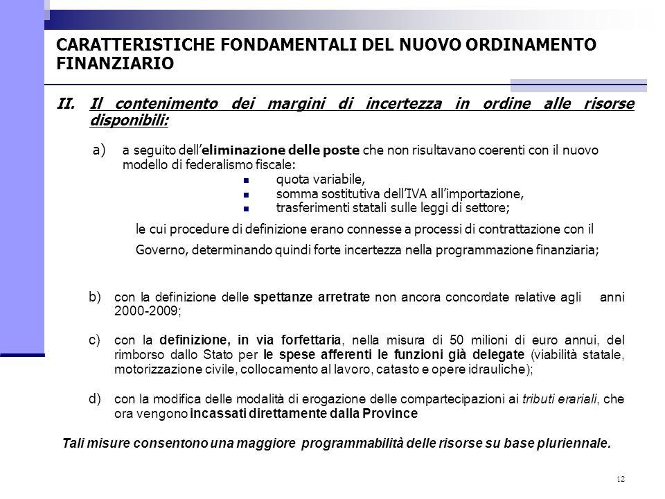 12 a) a seguito delleliminazione delle poste che non risultavano coerenti con il nuovo modello di federalismo fiscale: quota variabile, somma sostitut