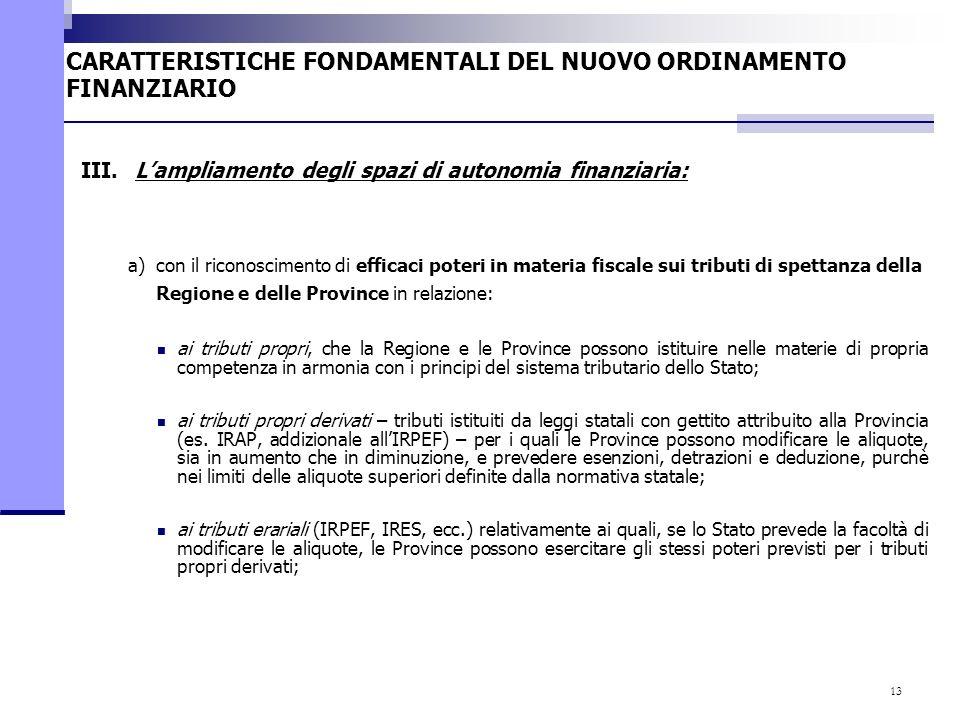 13 a)con il riconoscimento di efficaci poteri in materia fiscale sui tributi di spettanza della Regione e delle Province in relazione: ai tributi prop