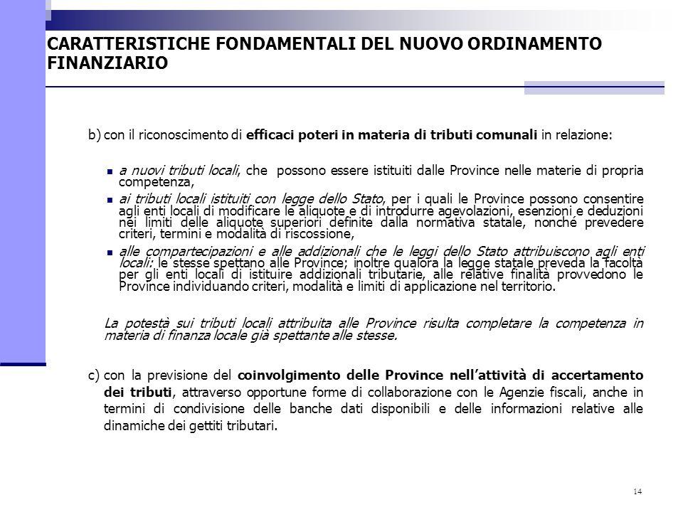 14 b)con il riconoscimento di efficaci poteri in materia di tributi comunali in relazione: a nuovi tributi locali, che possono essere istituiti dalle
