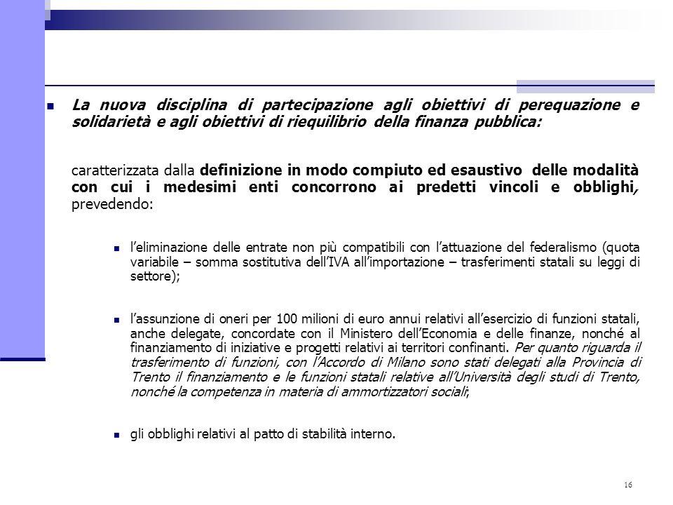 16 La nuova disciplina di partecipazione agli obiettivi di perequazione e solidarietà e agli obiettivi di riequilibrio della finanza pubblica: caratte