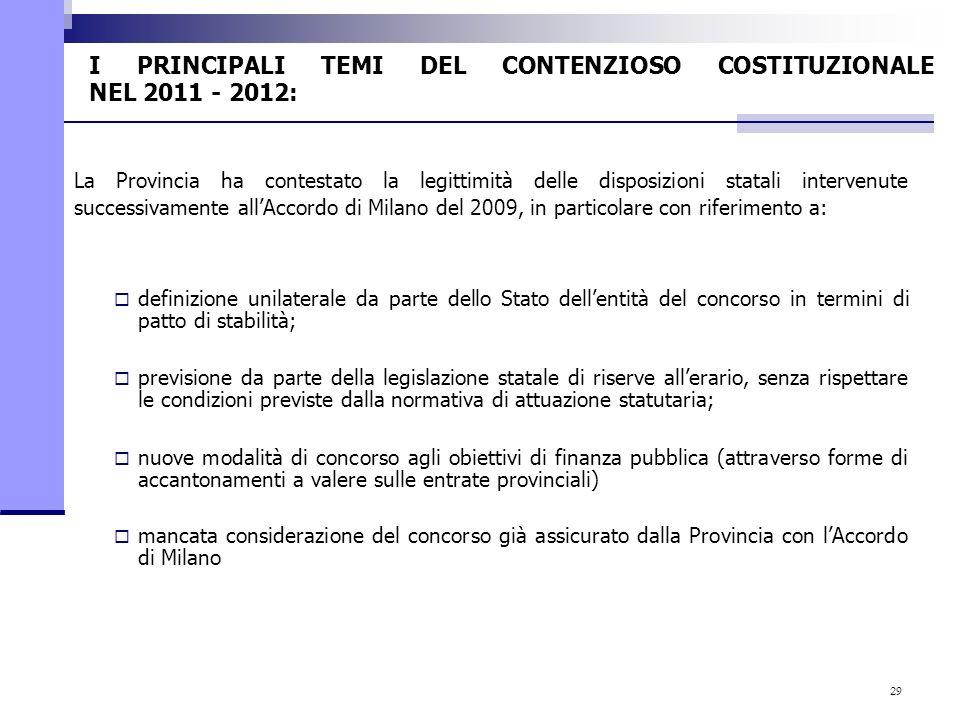 29 I PRINCIPALI TEMI DEL CONTENZIOSO COSTITUZIONALE NEL 2011 - 2012: La Provincia ha contestato la legittimità delle disposizioni statali intervenute