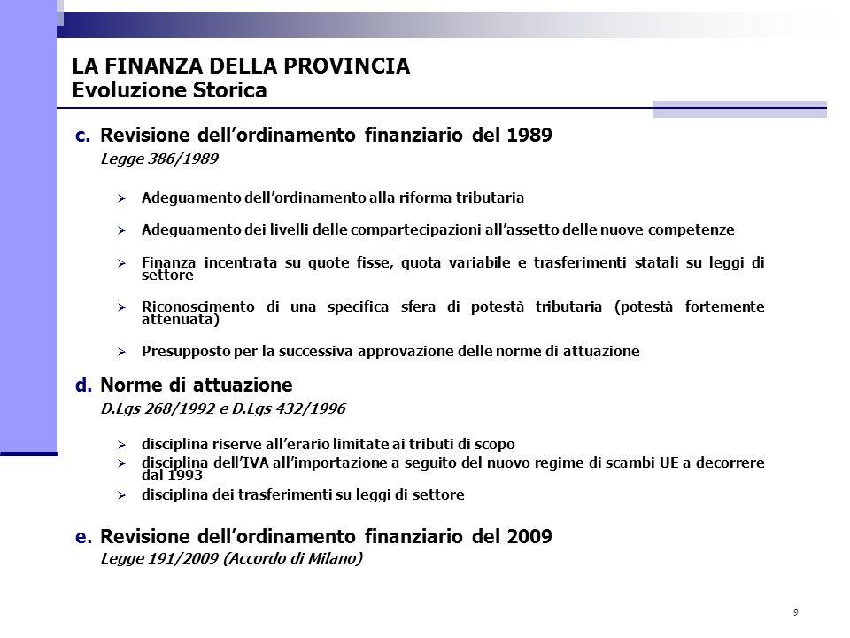 9 c.Revisione dellordinamento finanziario del 1989 Legge 386/1989 Adeguamento dellordinamento alla riforma tributaria Adeguamento dei livelli delle co
