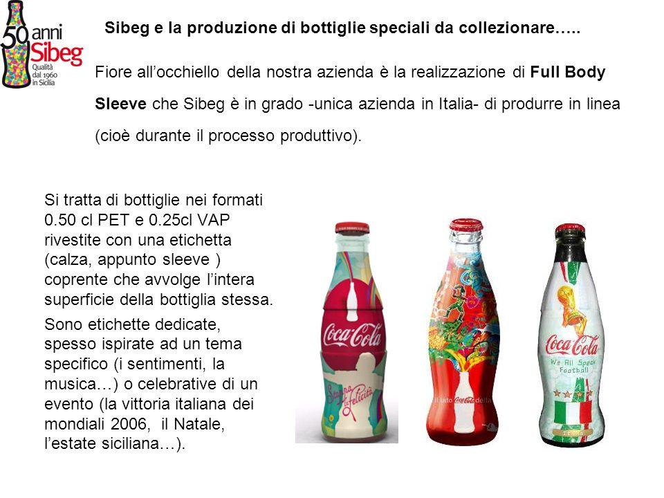 Si tratta di bottiglie nei formati 0.50 cl PET e 0.25cl VAP rivestite con una etichetta (calza, appunto sleeve ) coprente che avvolge lintera superfic