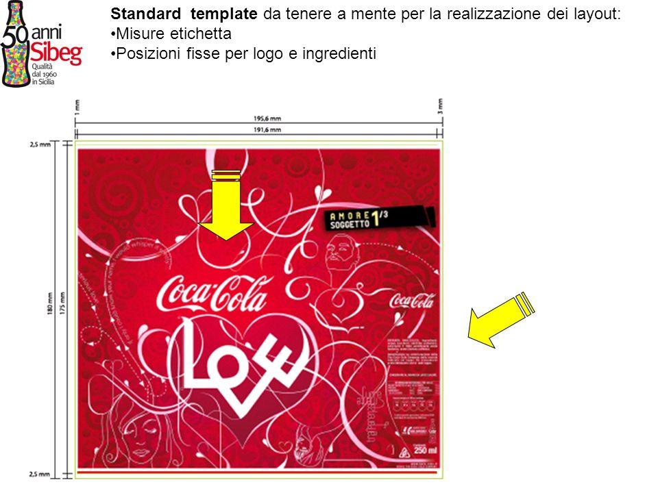 Standard template da tenere a mente per la realizzazione dei layout: Misure etichetta Posizioni fisse per logo e ingredienti