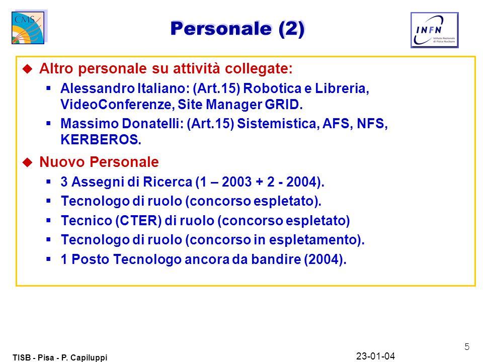 6 TISB - Pisa - P.Capiluppi 23-01-04 Risorse HW attuali TipoDescrizioneCapacità Farm 14 biproc.