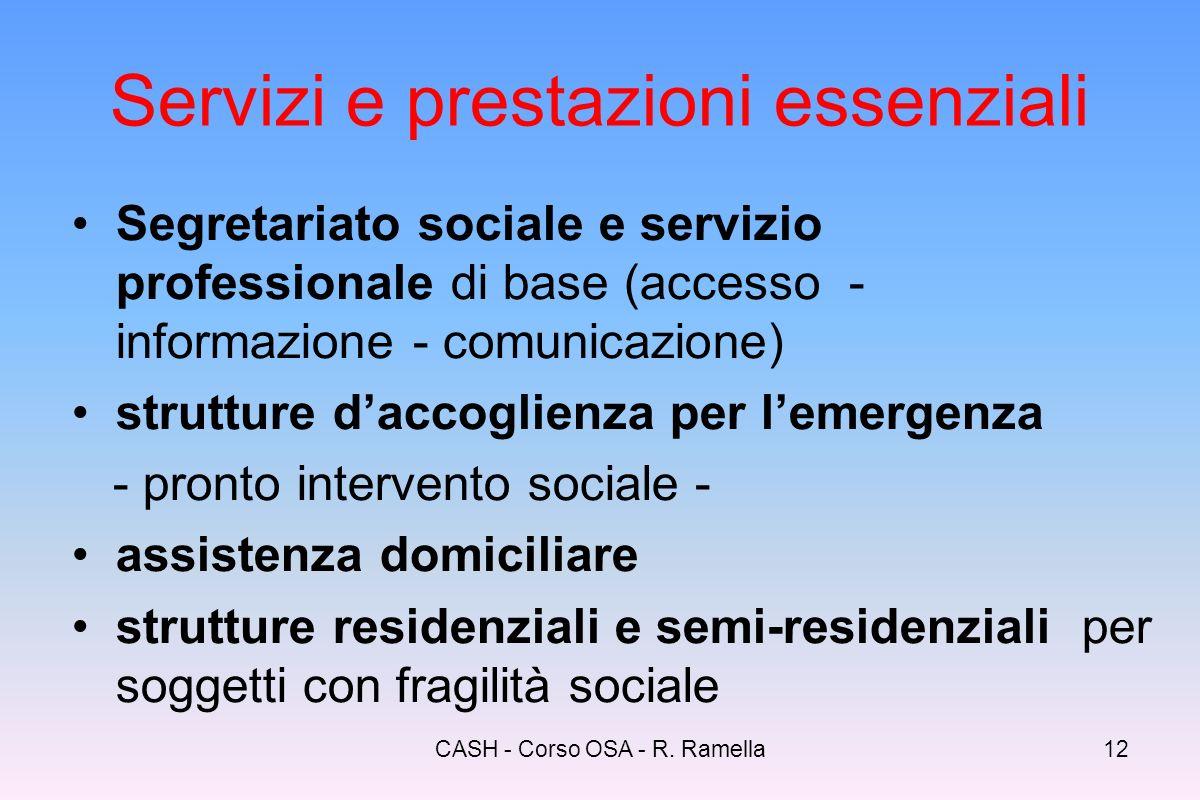 CASH - Corso OSA - R. Ramella11 segretariato sociale servizio professionale di base gestione piani di zona Aree trasversali - azioni di sistema - azio