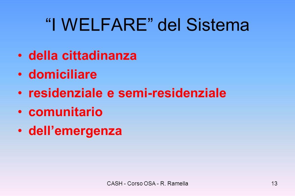 CASH - Corso OSA - R. Ramella12 Servizi e prestazioni essenziali Segretariato sociale e servizio professionale di base (accesso - informazione - comun