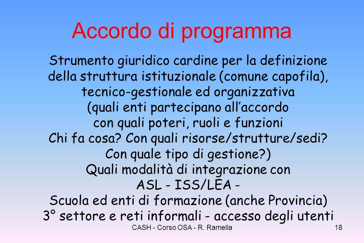 CASH - Corso OSA - R. Ramella17 Ruolo e funzioni dei dei comuni art. 6 concorso nellelaborazione del Piano territoriale degli interventi (pdz - strume