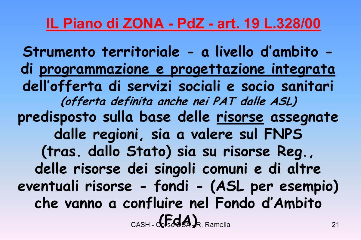 CASH - Corso OSA - R. Ramella20 Legge Quadro 328/2000 Riordino del sistema dei servizi sociali e sociosanitari Ambiti territoriali – Associazione di c
