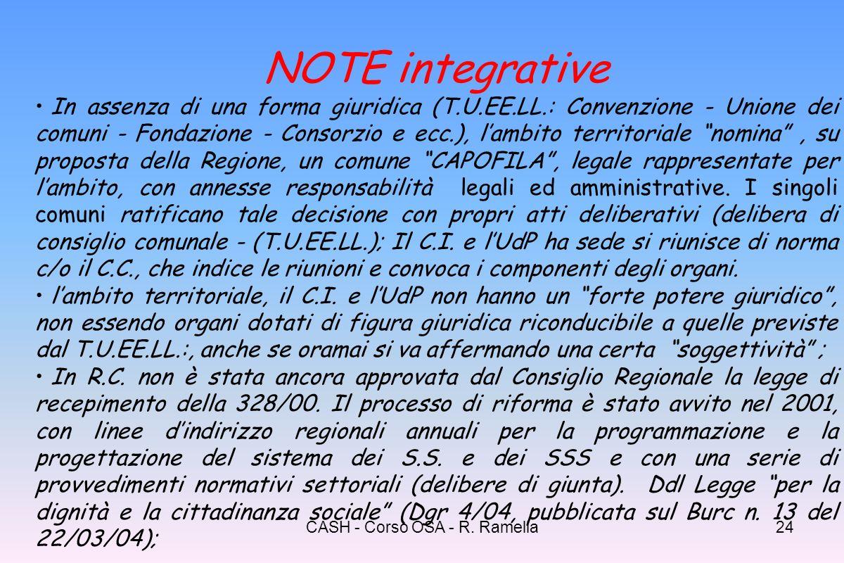 CASH - Corso OSA - R. Ramella23 Contenuti essenziali del PdZ: - analisi dei bisogni e dellofferta del sistema dei S.S. e S.S.S. realizzato; - descrizi
