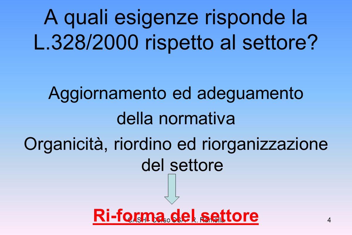 CASH - Corso OSA - R. Ramella3 Assetti politici ed istituzionali influenza delle decisioni, delle direttive e degli indirizzi della Comunità Europea R