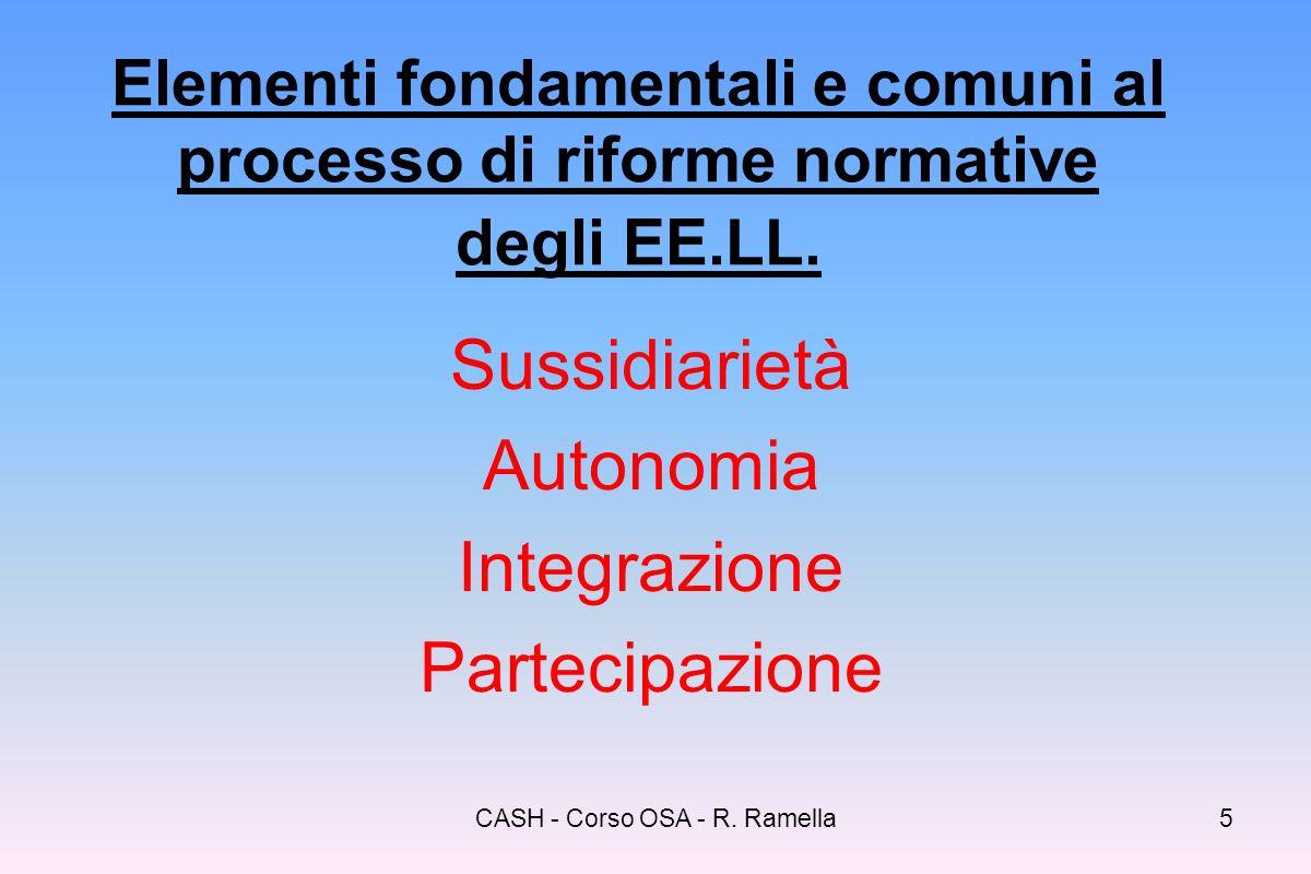 CASH - Corso OSA - R. Ramella4 A quali esigenze risponde la L.328/2000 rispetto al settore? Aggiornamento ed adeguamento della normativa Organicità, r