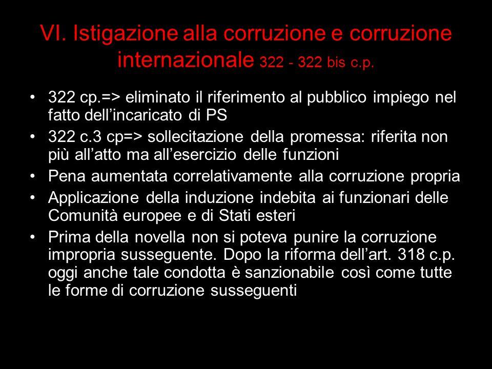 VI. Istigazione alla corruzione e corruzione internazionale 322 - 322 bis c.p. 322 cp.=> eliminato il riferimento al pubblico impiego nel fatto dellin
