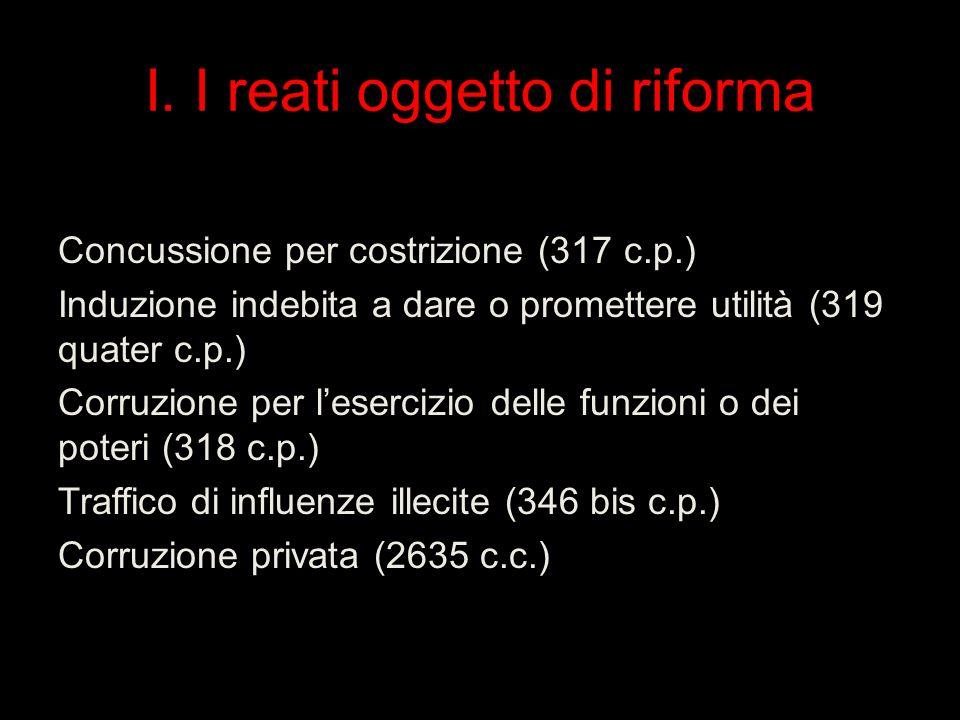 I. I reati oggetto di riforma Concussione per costrizione (317 c.p.) Induzione indebita a dare o promettere utilità (319 quater c.p.) Corruzione per l