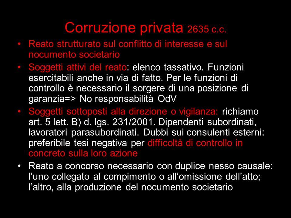 Corruzione privata 2635 c.c. Reato strutturato sul conflitto di interesse e sul nocumento societario Soggetti attivi del reato: elenco tassativo. Funz