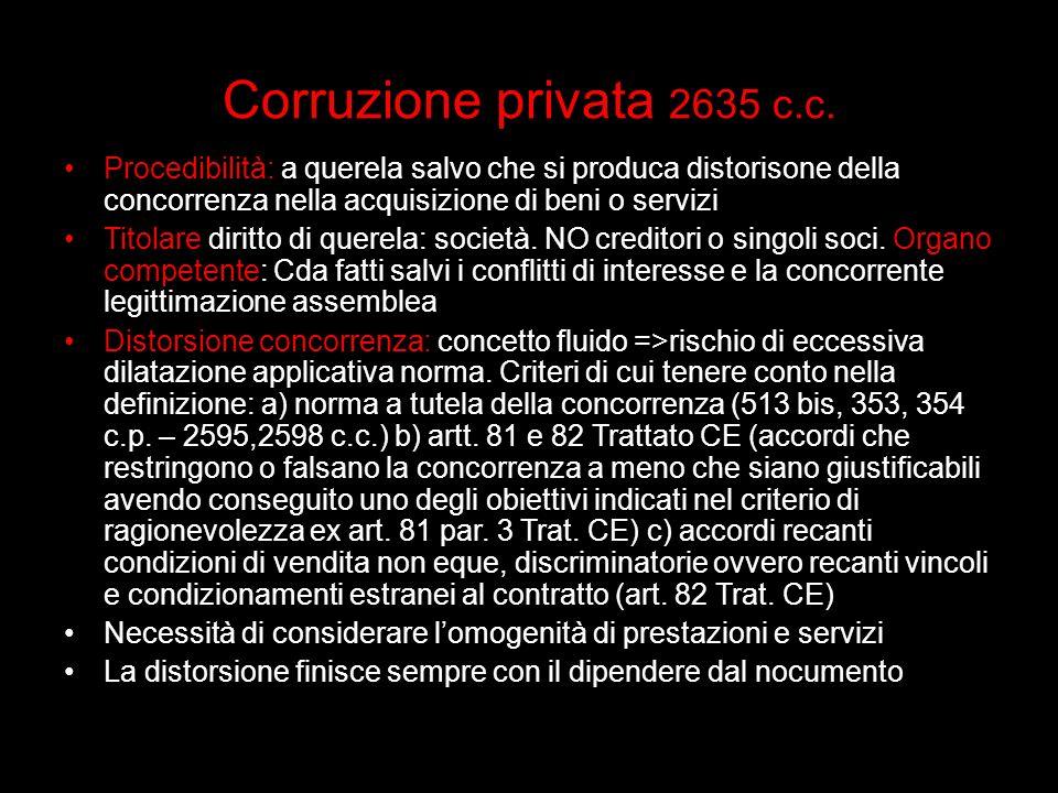 Corruzione privata 2635 c.c. Procedibilità: a querela salvo che si produca distorisone della concorrenza nella acquisizione di beni o servizi Titolare