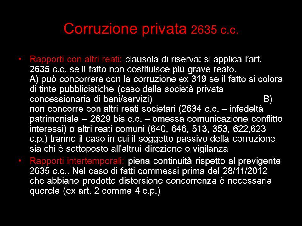 Corruzione privata 2635 c.c. Rapporti con altri reati: clausola di riserva: si applica lart. 2635 c.c. se il fatto non costituisce più grave reato. A)