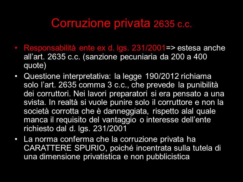 Corruzione privata 2635 c.c. Responsabilità ente ex d. lgs. 231/2001=> estesa anche allart. 2635 c.c. (sanzione pecuniaria da 200 a 400 quote) Questio