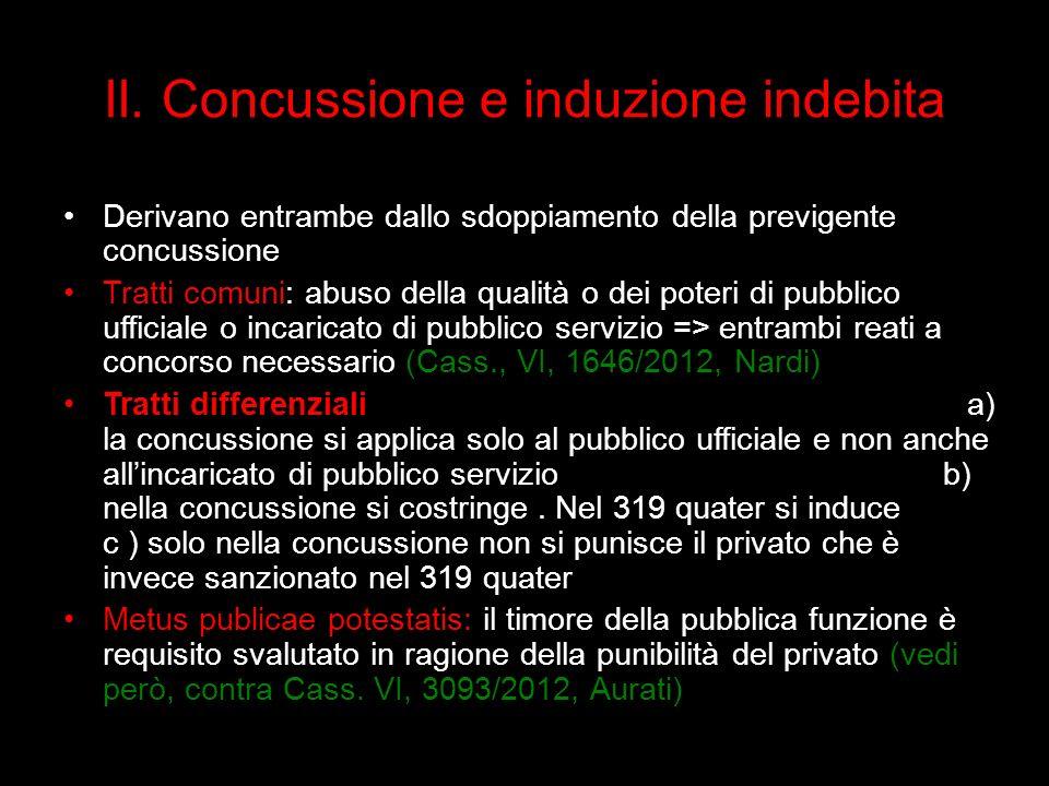 II. Concussione e induzione indebita Derivano entrambe dallo sdoppiamento della previgente concussione Tratti comuni: abuso della qualità o dei poteri
