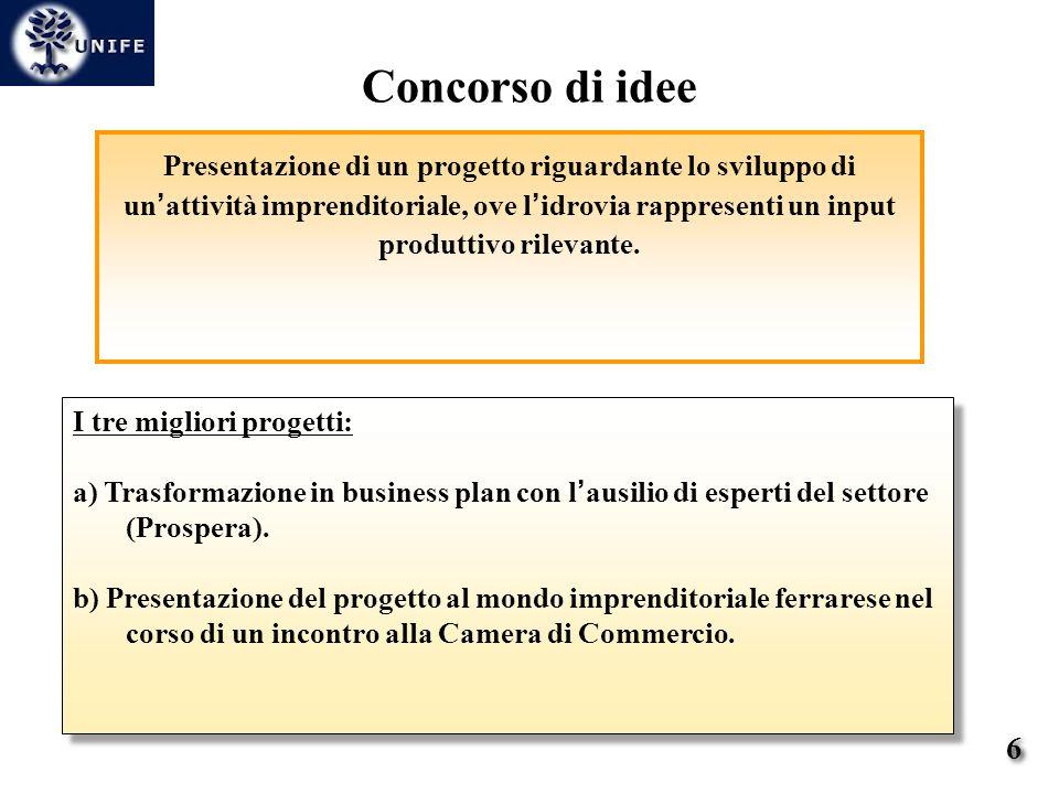 Presentazione di un progetto riguardante lo sviluppo di un attività imprenditoriale, ove l idrovia rappresenti un input produttivo rilevante.