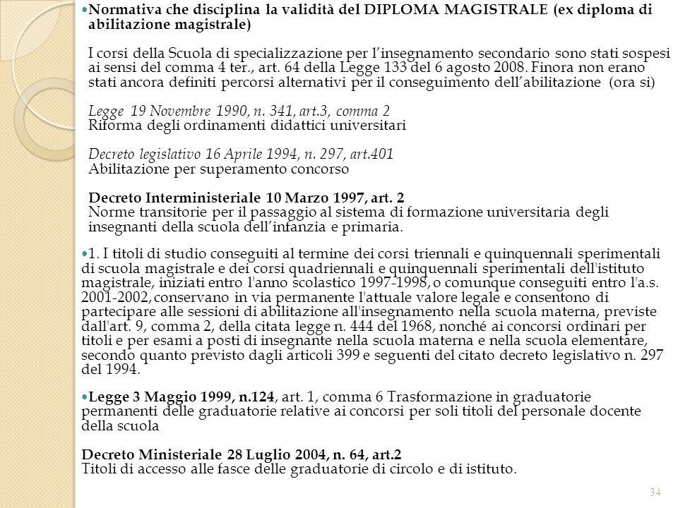 34 Normativa che disciplina la validità del DIPLOMA MAGISTRALE (ex diploma di abilitazione magistrale) I corsi della Scuola di specializzazione per linsegnamento secondario sono stati sospesi ai sensi del comma 4 ter., art.