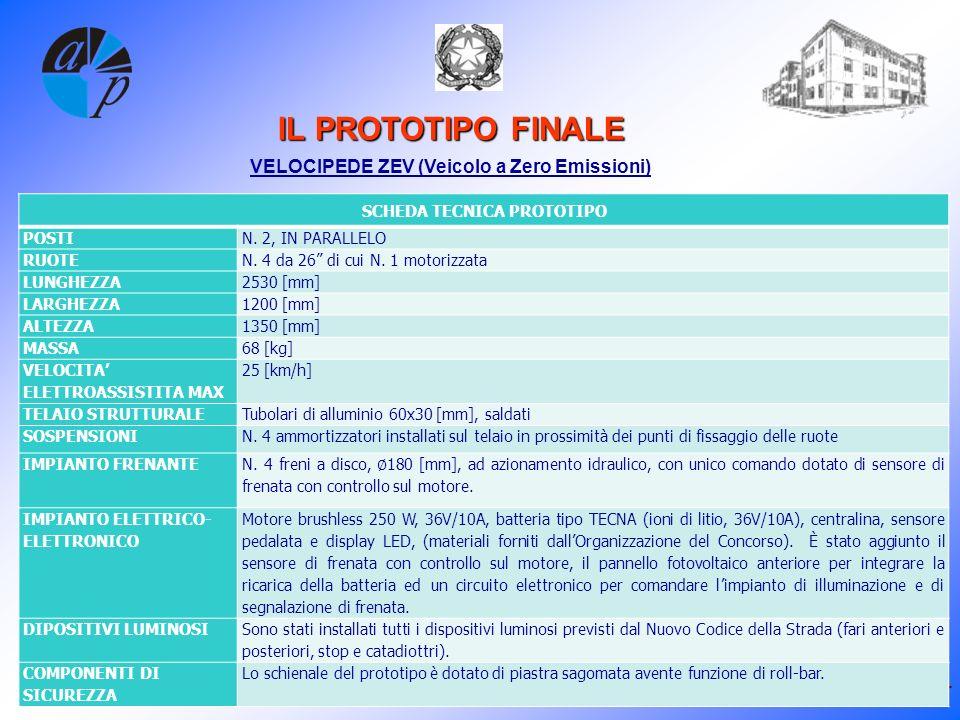 25-26-27 maggio 2012 WWW.IPSIAPACINOTTI.PT.IT IL PROTOTIPO FINALE VELOCIPEDE ZEV (Veicolo a Zero Emissioni) SCHEDA TECNICA PROTOTIPO POSTIN.
