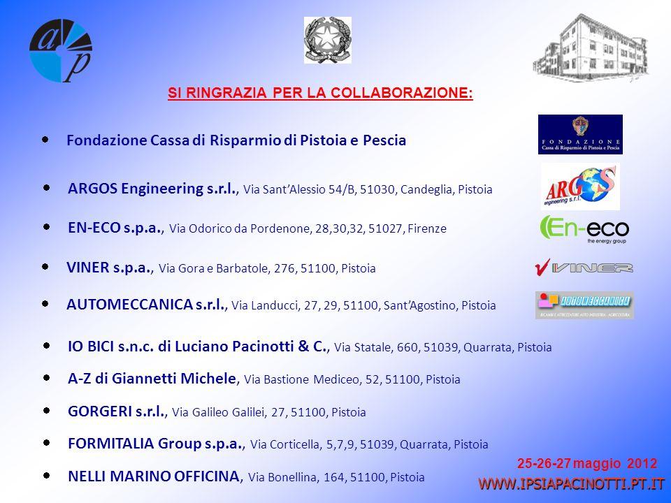 25-26-27 maggio 2012 WWW.IPSIAPACINOTTI.PT.IT SI RINGRAZIA PER LA COLLABORAZIONE: Fondazione Cassa di Risparmio di Pistoia e Pescia ARGOS Engineering s.r.l., Via SantAlessio 54/B, 51030, Candeglia, Pistoia EN-ECO s.p.a., Via Odorico da Pordenone, 28,30,32, 51027, Firenze VINER s.p.a., Via Gora e Barbatole, 276, 51100, Pistoia AUTOMECCANICA s.r.l., Via Landucci, 27, 29, 51100, SantAgostino, Pistoia IO BICI s.n.c.