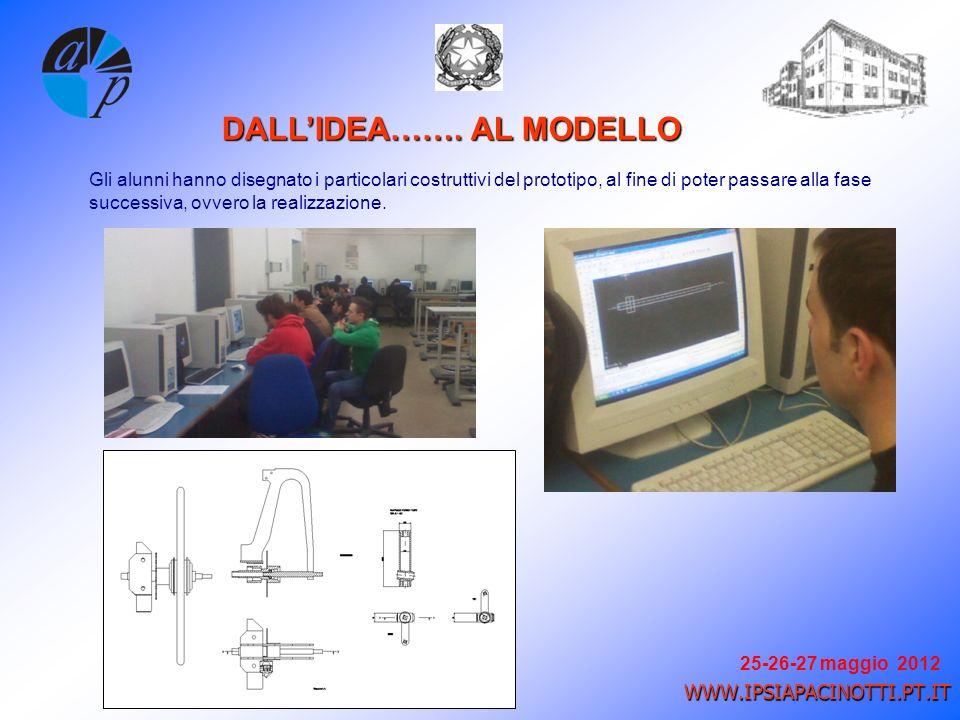 25-26-27 maggio 2012 WWW.IPSIAPACINOTTI.PT.IT Gli alunni hanno disegnato i particolari costruttivi del prototipo, al fine di poter passare alla fase successiva, ovvero la realizzazione.