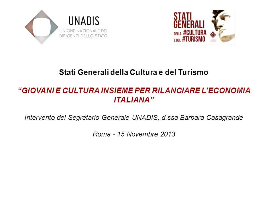 Stati Generali della Cultura e del Turismo GIOVANI E CULTURA INSIEME PER RILANCIARE LECONOMIA ITALIANA Intervento del Segretario Generale UNADIS, d.ssa Barbara Casagrande Roma - 15 Novembre 2013