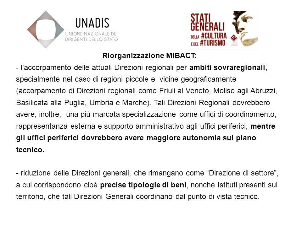 Riorganizzazione MiBACT: - laccorpamento delle attuali Direzioni regionali per ambiti sovraregionali, specialmente nel caso di regioni piccole e vicine geograficamente (accorpamento di Direzioni regionali come Friuli al Veneto, Molise agli Abruzzi, Basilicata alla Puglia, Umbria e Marche).