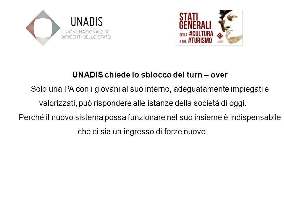 UNADIS chiede lo sblocco del turn – over Solo una PA con i giovani al suo interno, adeguatamente impiegati e valorizzati, può rispondere alle istanze della società di oggi.