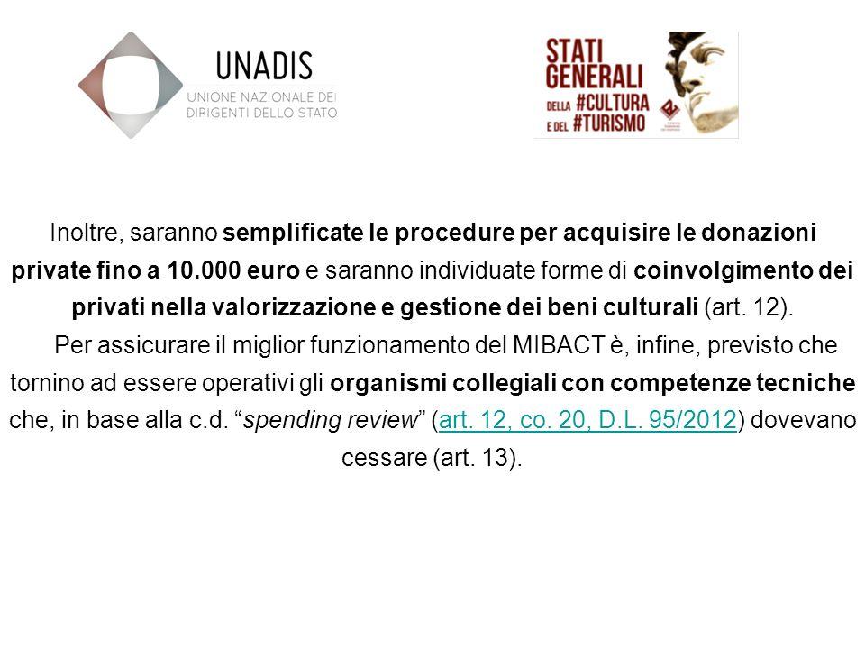 Inoltre, saranno semplificate le procedure per acquisire le donazioni private fino a 10.000 euro e saranno individuate forme di coinvolgimento dei privati nella valorizzazione e gestione dei beni culturali (art.