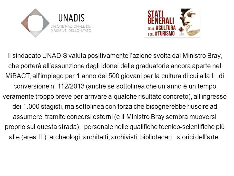 Il sindacato UNADIS valuta positivamente lazione svolta dal Ministro Bray, che porterà allassunzione degli idonei delle graduatorie ancora aperte nel MiBACT, allimpiego per 1 anno dei 500 giovani per la cultura di cui alla L.