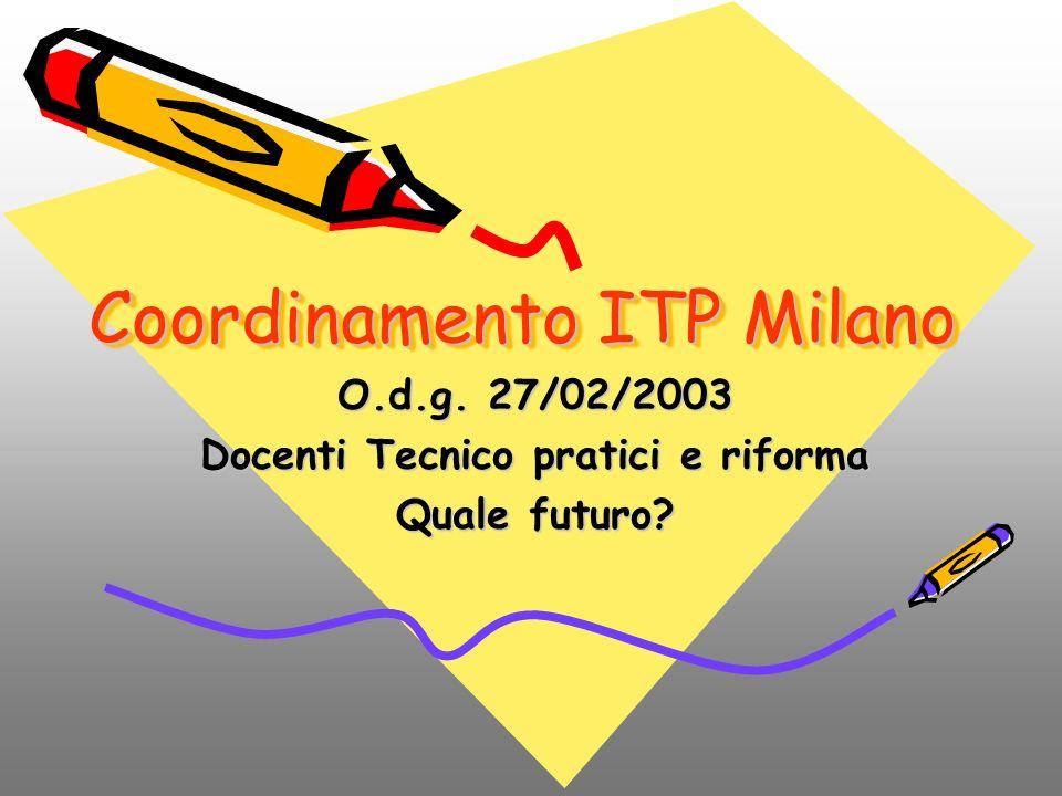 Coordinamento ITP Milano O.d.g. 27/02/2003 Docenti Tecnico pratici e riforma Quale futuro?