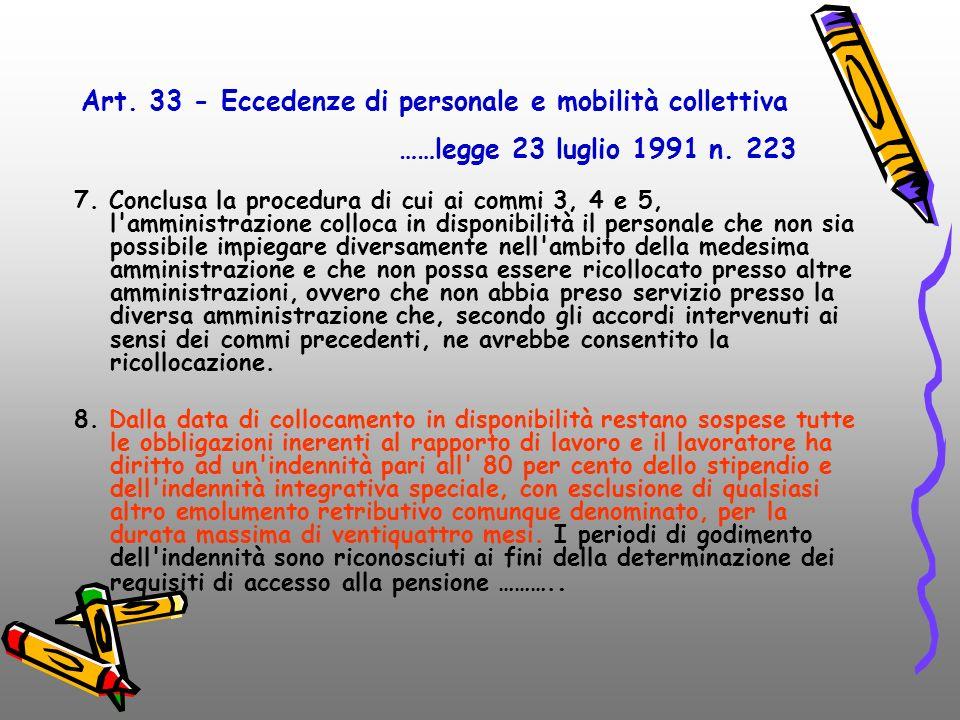 Art. 34-bisArt. 34-bis legge 3/2003 7. Conclusa la procedura di cui ai commi 3, 4 e 5, l'amministrazione colloca in disponibilità il personale che non