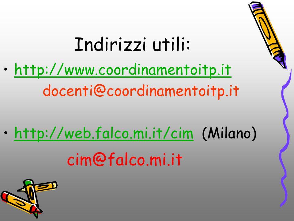 Indirizzi utili: http://www.coordinamentoitp.it docenti@coordinamentoitp.it http://web.falco.mi.it/cim (Milano)http://web.falco.mi.it/cim cim@falco.mi