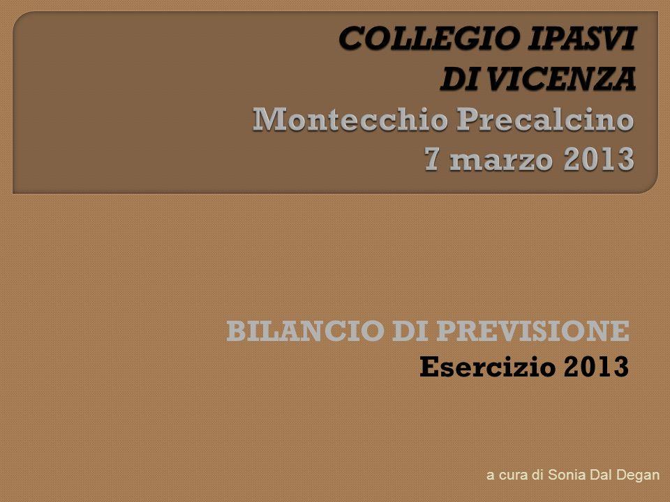 BILANCIO DI PREVISIONE Esercizio 2013 a cura di Sonia Dal Degan