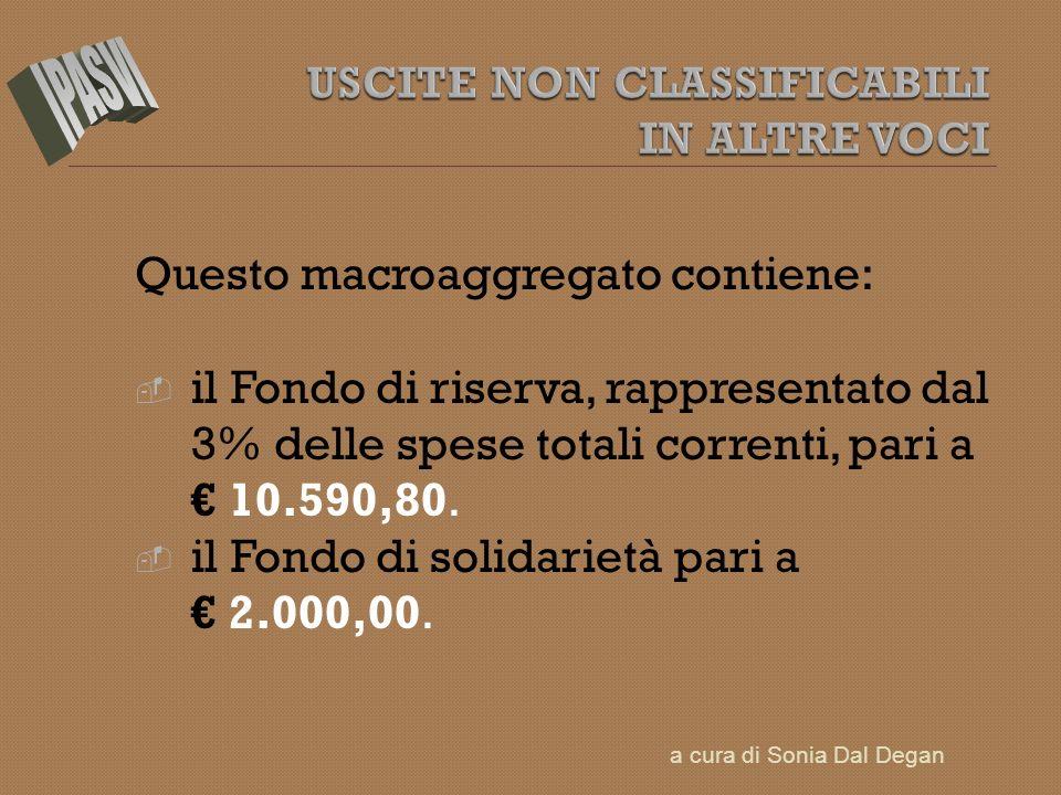 Questo macroaggregato contiene: il Fondo di riserva, rappresentato dal 3% delle spese totali correnti, pari a 10.590,80. il Fondo di solidarietà pari