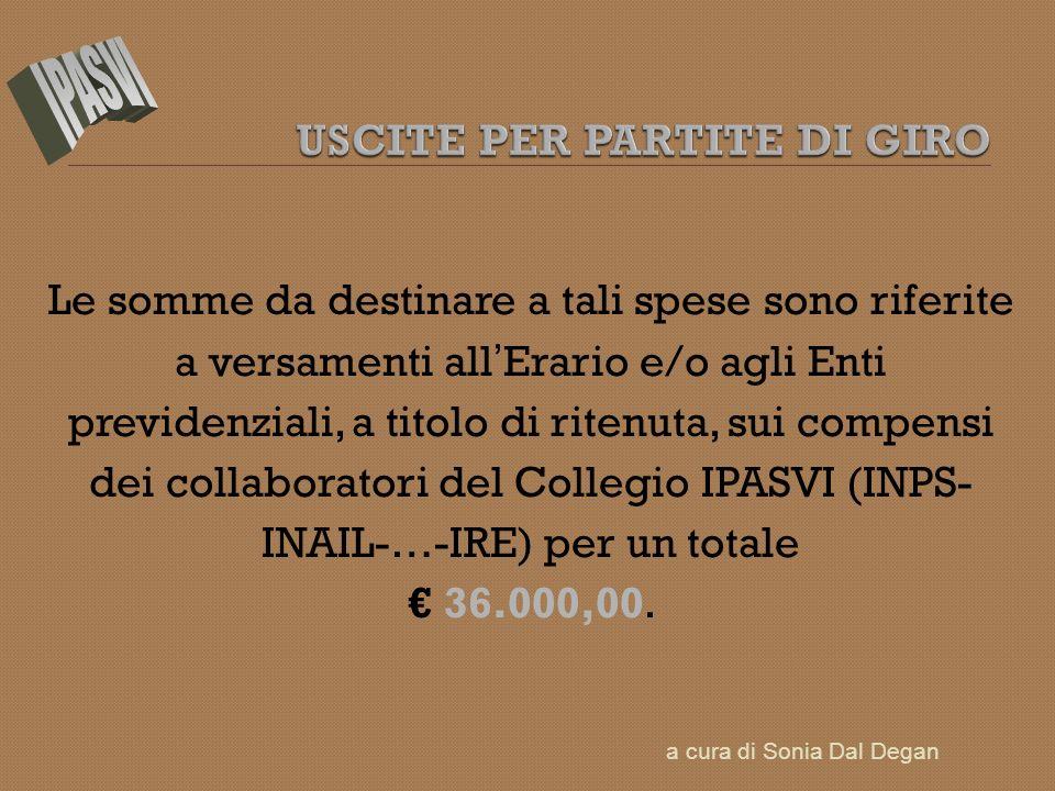 Le somme da destinare a tali spese sono riferite a versamenti all Erario e/o agli Enti previdenziali, a titolo di ritenuta, sui compensi dei collaboratori del Collegio IPASVI (INPS- INAIL-…-IRE) per un totale 36.000,00.